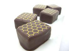 トリュフチョコレート3種。プラリネ、カラメル、ハニー。